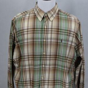 Ralph Lauren Mens Classic Tan/Green Plaid XXL LSS